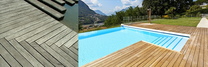 Place de piscine en bois